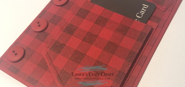 Flannel shirt gift card holder with red buffalo plaid pocket