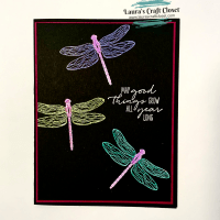 Neon Technique Dragonfly Card — Colored Embossing Powder Trick