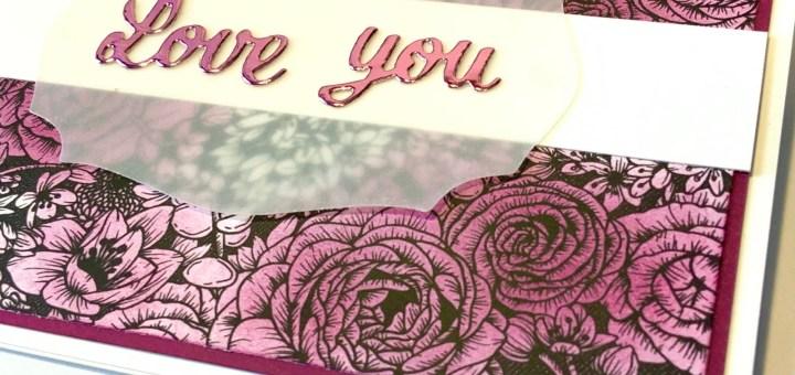 True love sponged card closeup Valentine's Day anniversary purple roses