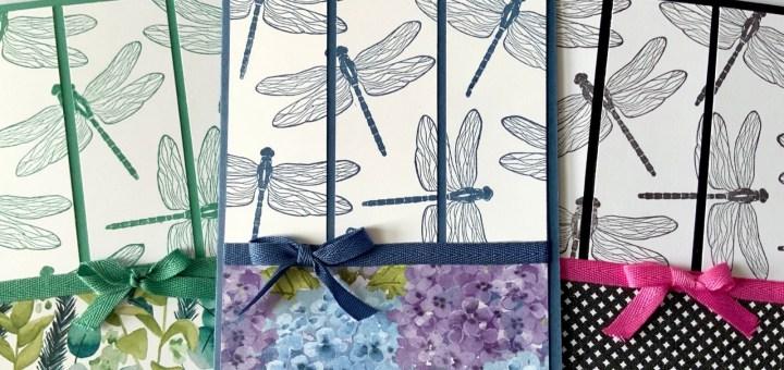 Flight of dragonflies one design three cards dragonfly garden bundle stampin up