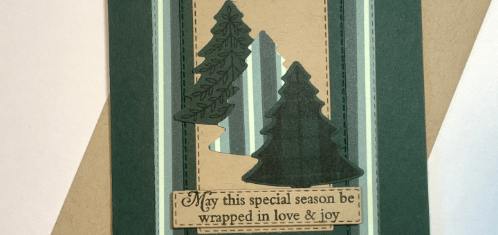 In Color Evening Evergreen Holiday Card with perfectly plaid tree punch