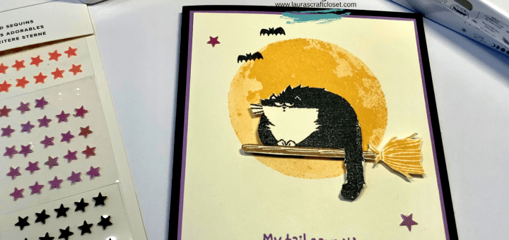 Full moon cat card stampin up stamps yellow purple black stars bats