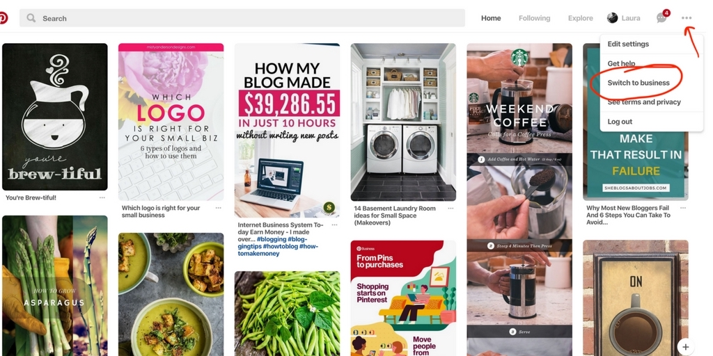 Screenshot of where to click to switch from a personal account to a business account on Pinterest.