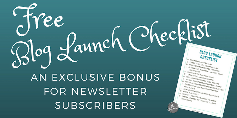 free blog launch checklist text on blue background