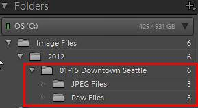 raw and jpeg folders for raw+jpeg shoots in Lightroom