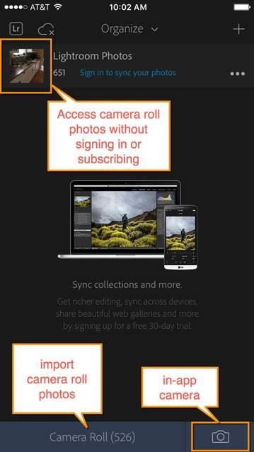 lightroom mobile free camera