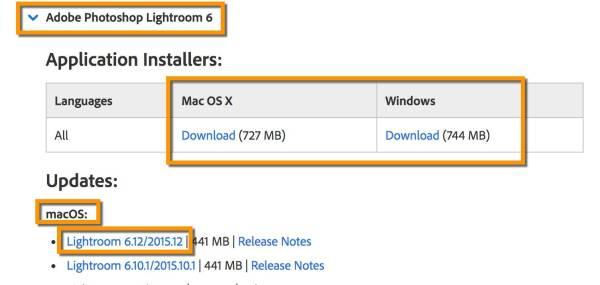 Download old versions of Lightroom