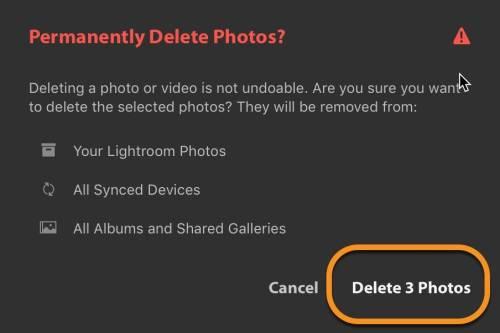 Lightroom CC - Read Delete Dialog Carefully