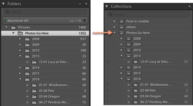 Create collections from folders in Lightroom Classic