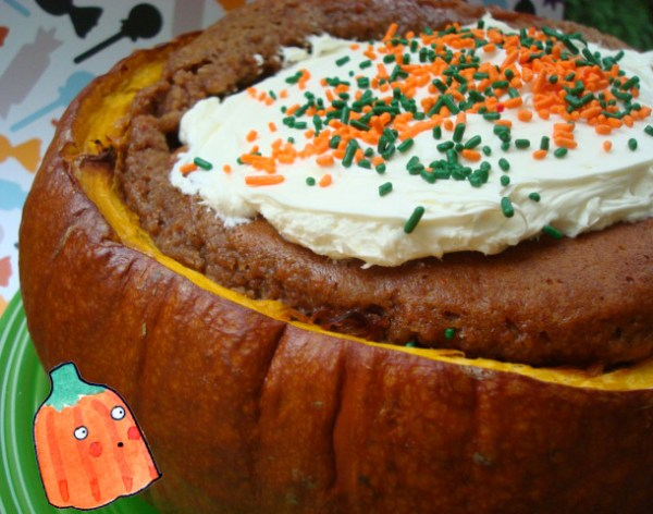 Pumpkin Baked in a Cake - 21 Halloween Party Treats www.lauraslittlehousetips.com