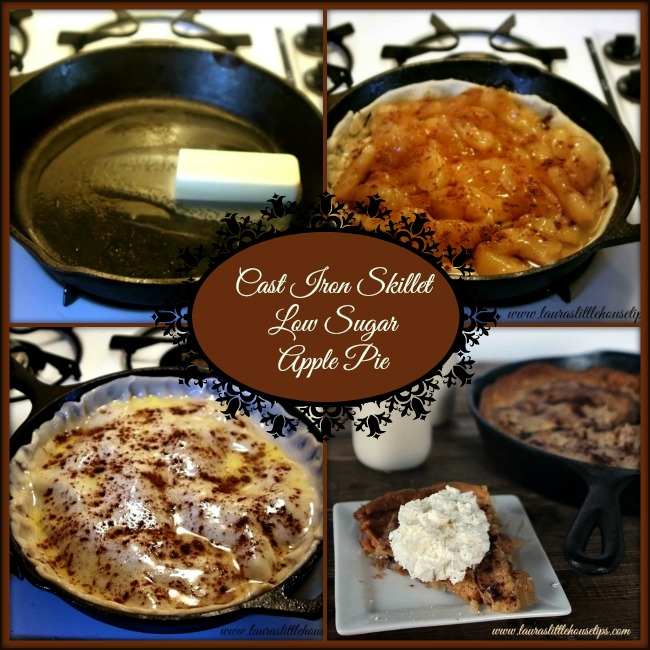 Cast Iron Skillet Low Sugar Apple Pie collage 2