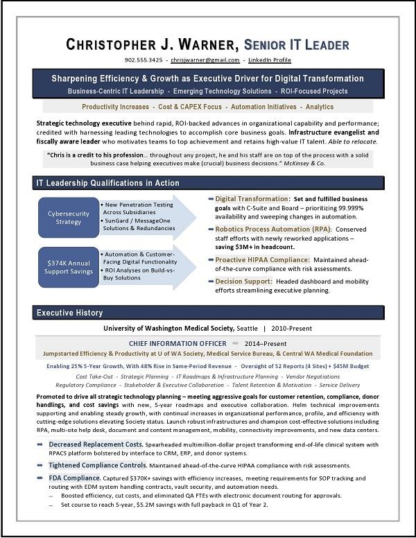 CIO Healthcare Sample Resume Sample by Laura Smith-Proulx