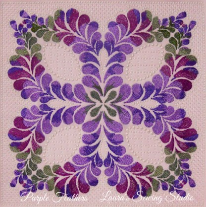 Purple Feathers No. 1 - kaleidoscope machine embroidery series
