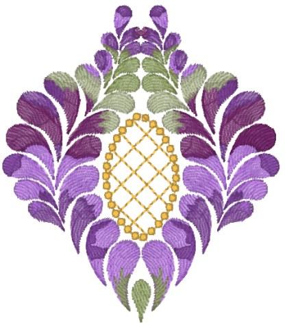Purple Feathers No. 3 (artistic) kaleidoscope machine embroidery