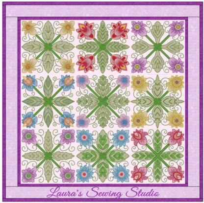 Spring Garden No. 4 Sampler Quilt, in 4-by patterns (Color variation #2)