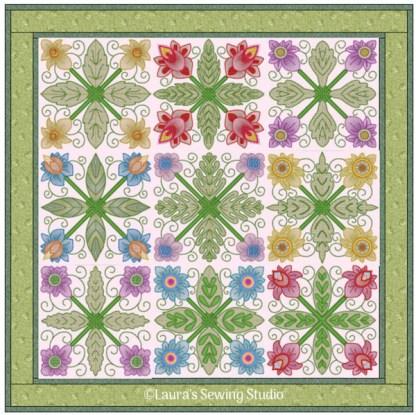 Spring Garden No. 4 Sampler Quilt, in 4-by patterns