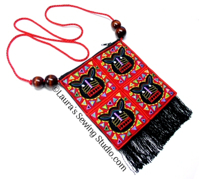 Mucho Molas The Cat's Meow Purse with Fringe