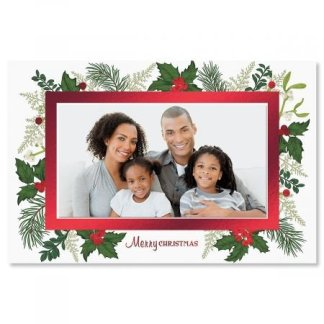 Holly Photo Sleeve Deluxe Christmas Cards - 18 Pack