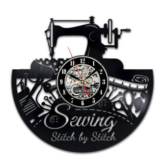 Sewing Stitch by Stitch Vinyl Wall Clock