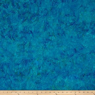 Malam Batick III Leaf Scroll Deep Teal Fabric