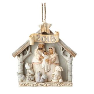 Jim Shore Heartwood Creek White Woodland Nativity Ornaments