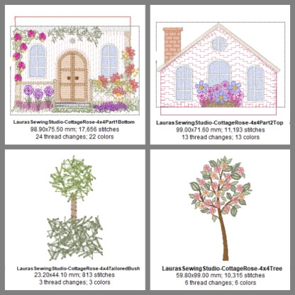 Cottage Rose 4x4 Elements Design Details, Page 1