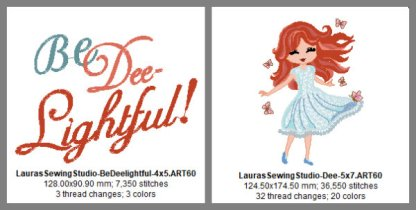 Dee, Delightful Dee, Girls, wing needle, applique, auburn, redhead, brunette, blond, 5x7, 7x11