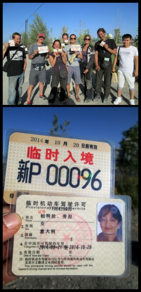 Michael (1st left), Chris (tallest) and I (shortest!) with a group of foreign overlanders in Kashgar...and our shiny new Chinese driver's licences & plates!