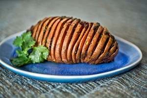 Curried sweet potato Hasselback