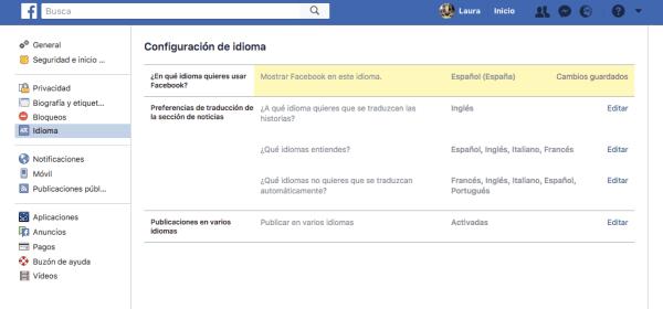 traducciones idiomas facebook