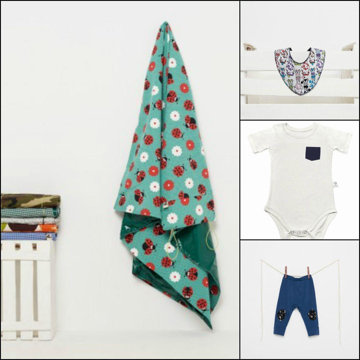 ecommerce multimarca de productos sostenibles - Manta picnic mariquitas, Babero bandana de vacas y pantalón de rodilleras cósmicas de The Mini Monkeys / Body pocket de Beedreamer