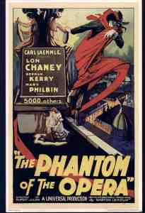 1925 movie poster showing the Phantom above Paris with various Opera House scenes