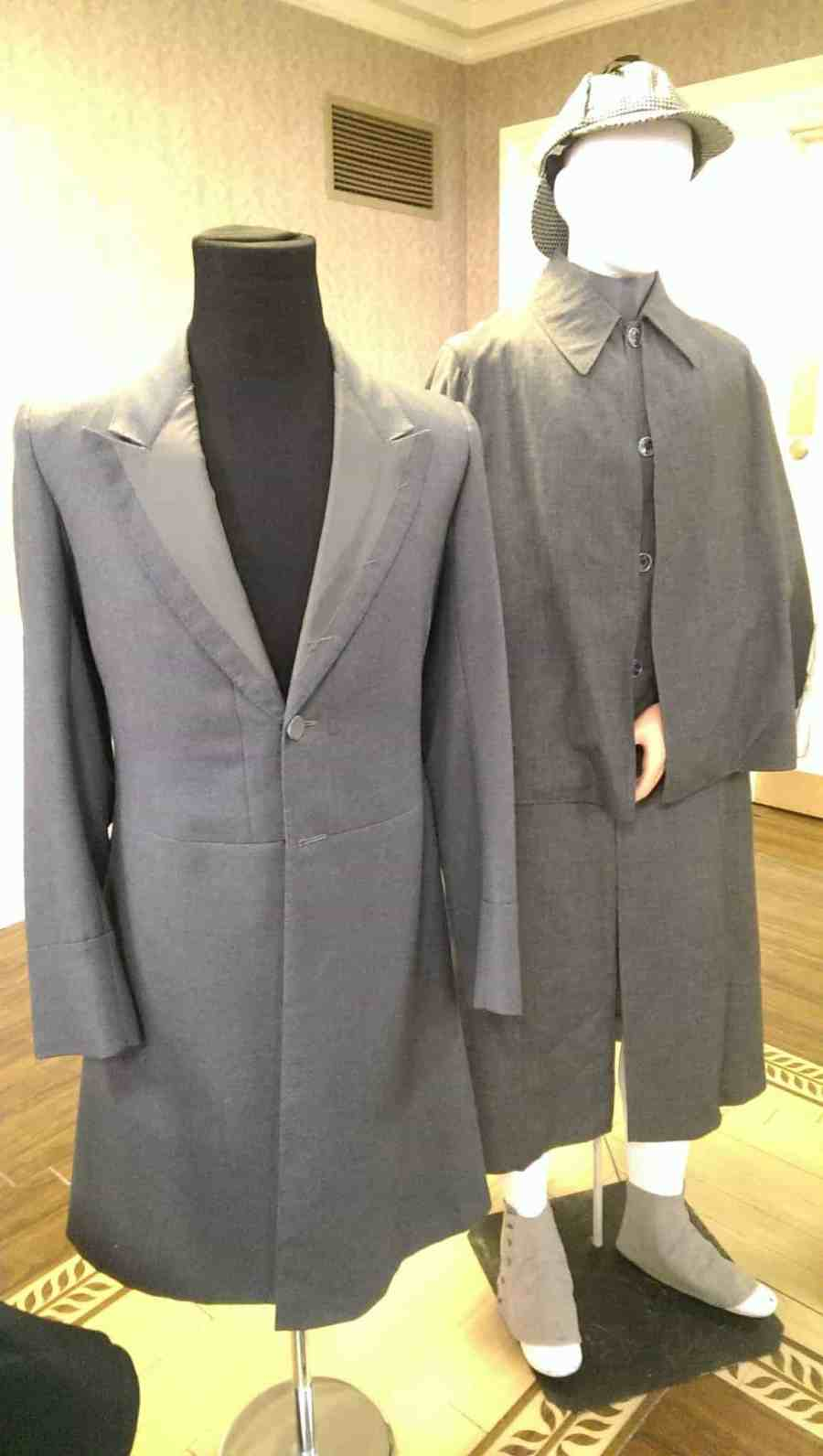 "Sherlock Holmes frock coat for Jeremy Brett in SHERLOCK HOLMES, and Sherlock Holmes costume for CAPTAIN KANGAROO (""The Detective,"" 1974)."