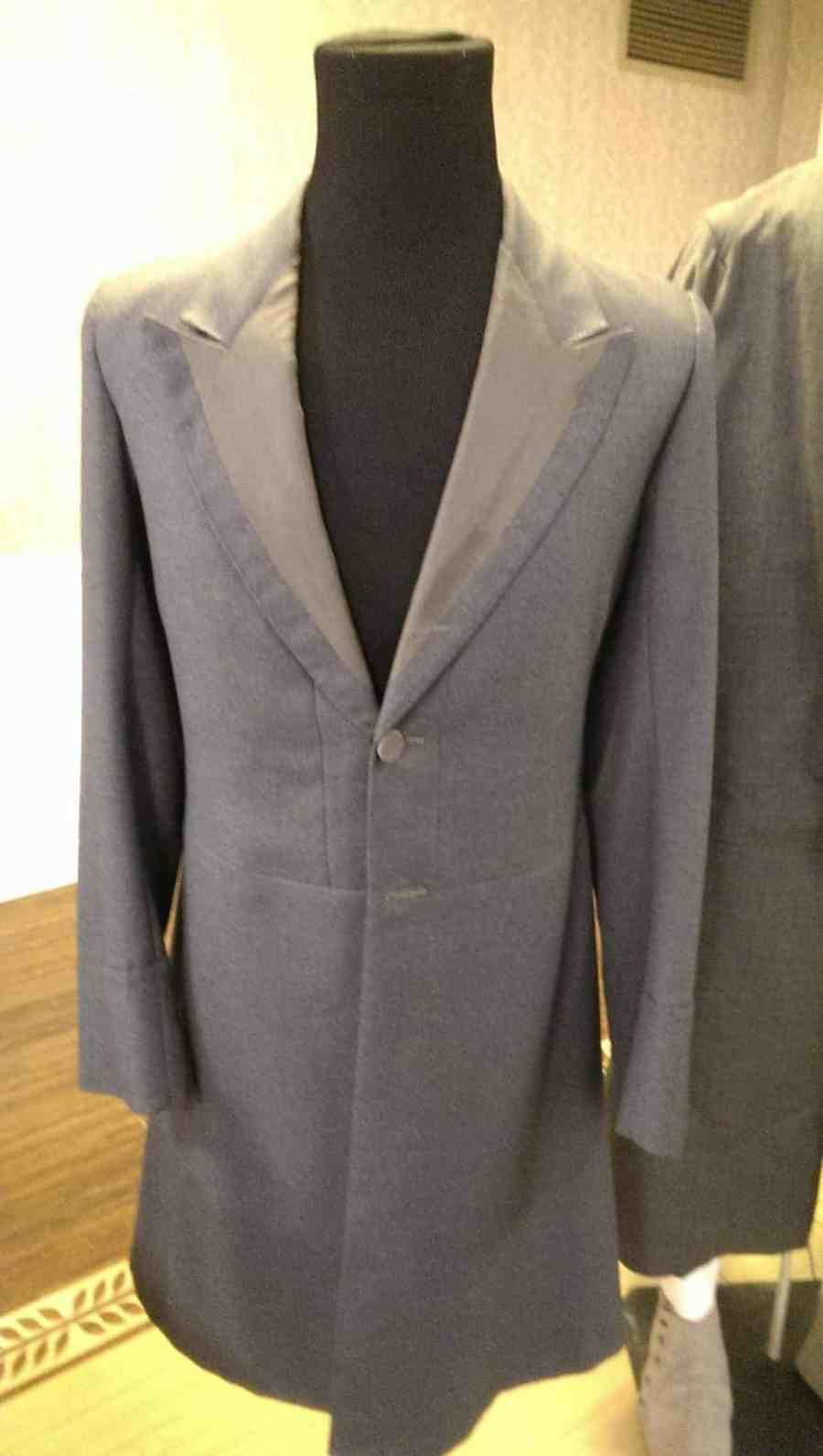 Sherlock Holmes frock coat for Jeremy Brett in SHERLOCK HOLMES (1983 and beyond). Grey tailored frock coat.