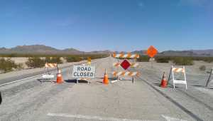 road closed signs and barricades