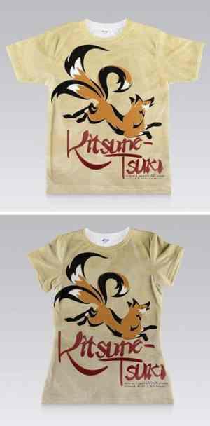 full shirt printed design of three-tailed fox and KITSUNE-TSUKI title