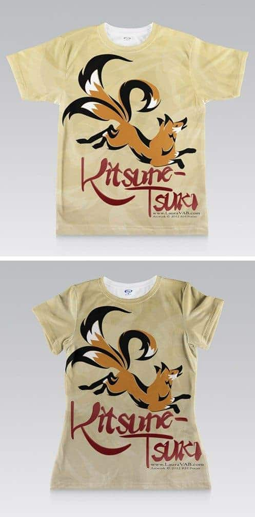 full shirt printed design of three-tailed fox and KITSUNE-TSUKI title