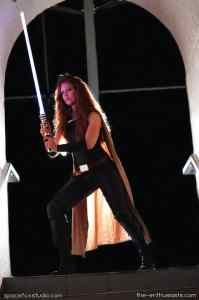 Laura VanArendonk Baugh cosplaying Mara Jade of the Star Wars Extended Universe