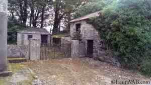 stone cottage and stone fence