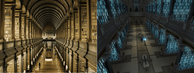 side-by-side comparison shot of Long Room library and Jedi Archives