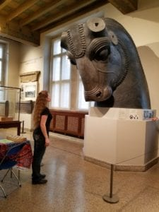 enormous bull head (missing ears and horns) from Persepolis, with Laura, photographed at the Oriental Institute of the University of Chicago