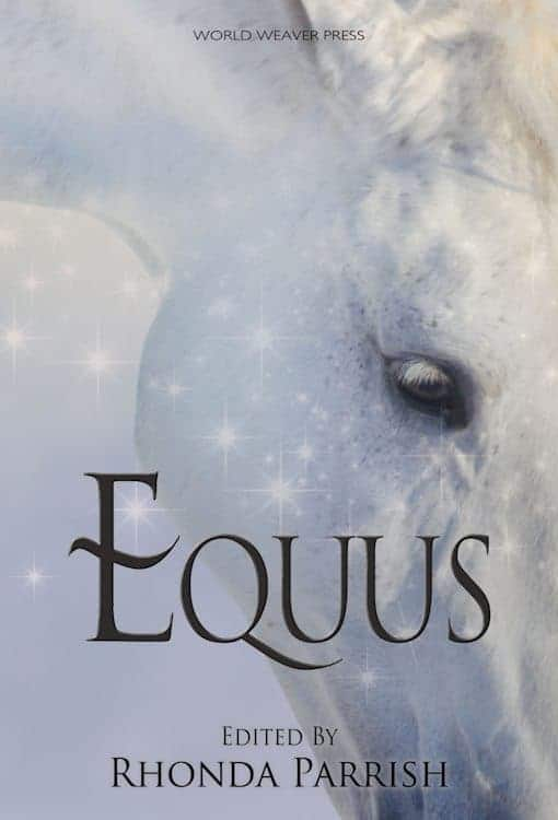 white horse head with black title text EQUUS