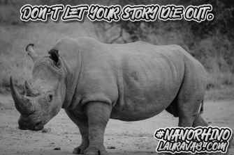 old photo of rhino. Don't let your writing die out.