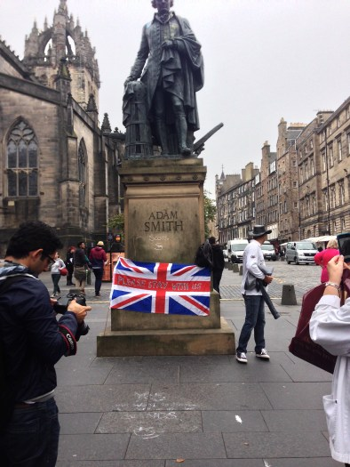 Adam Smith statue the next day, 17th of September, 2014