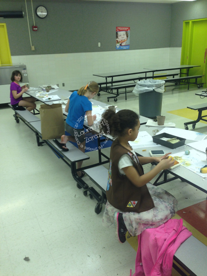 Girls Scouts creating crafts