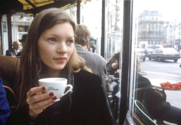 Mandatory Credit: Photo by Geoff Wilkinson / Rex USA KATE MOSS KATE MOSS IN PARIS, FRANCE - 1993 CAFE DRINKING COFFEE