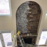 painting stone fireplace