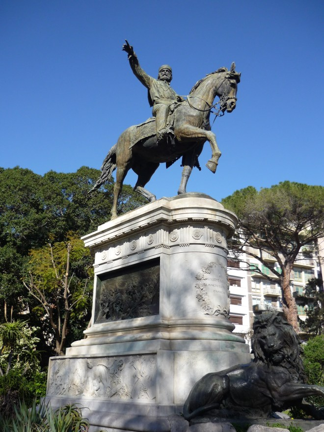 Bronze of hero Garibaldi on horseback.