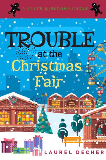 Cover of short story Trouble At The Christmas Fair showing Christmas market in the snow