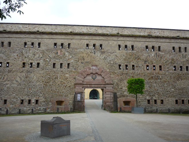 Gate in giant stone wall of Festung Ehrenbreitstein
